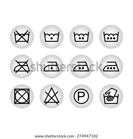 Instruction Laundry Dry Cleaning Care Icons Stock Vector 274947182