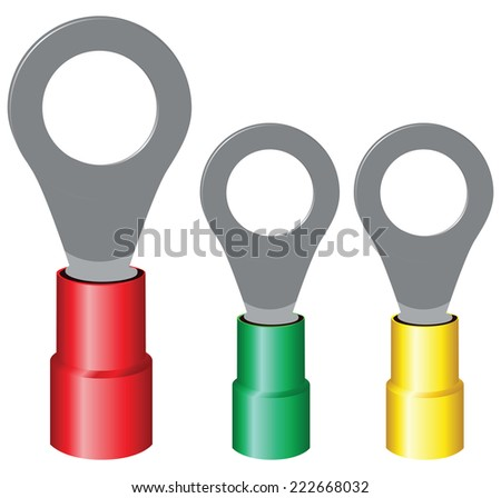 Insulated electrical components for screw mounting wires. Vector illustration. - stock vector