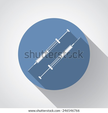 insulin syringe flat icon with long shadow on blue. - stock vector