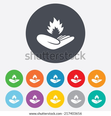 Insurance against fire sign icon. Hand holds fire flame symbol. Round colourful 11 buttons. Vector - stock vector