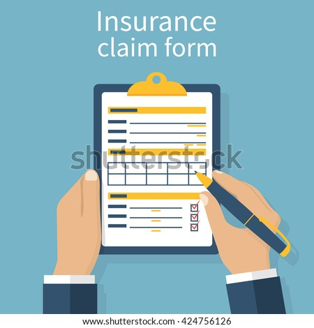 Insurance claim form. Man writes form, holding clipboard in hand. Vector illustration flat design. - stock vector