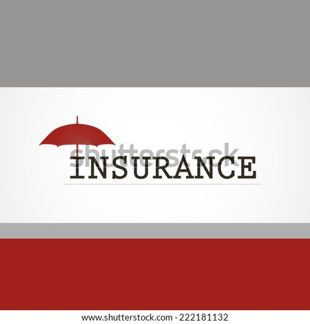 Insurance company label or logo red and grey style illustration - stock vector