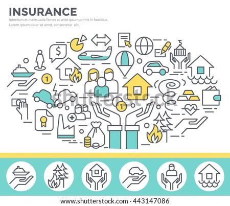 Insurance concept illustration, thin line flat design - stock vector