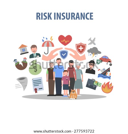 Insurance concept with human hands and accident protection symbols flat vector illustration - stock vector