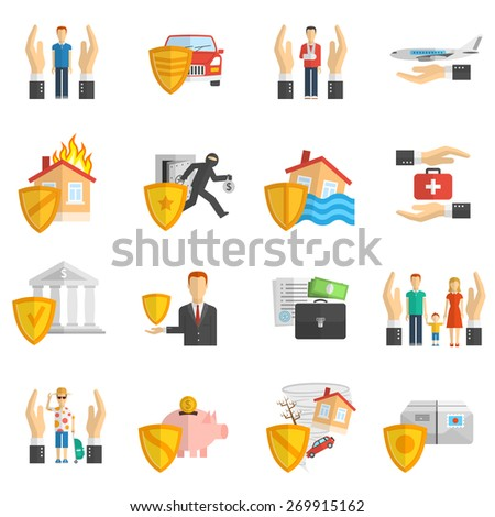 Insurance hand and shield multicolored flat icon set isolated vector illustration - stock vector