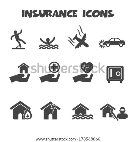 insurance icons, mono vector symbols - stock vector