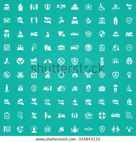 insurance 100 icons universal set for web and mobile