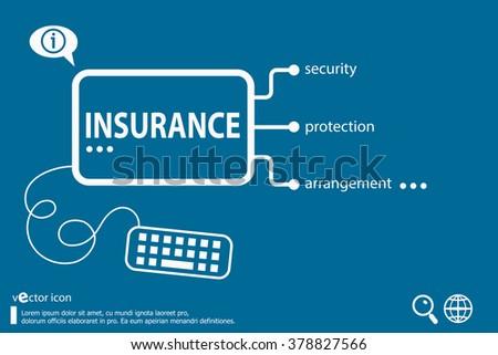 Insurance protection info text arrangement concept  - stock vector