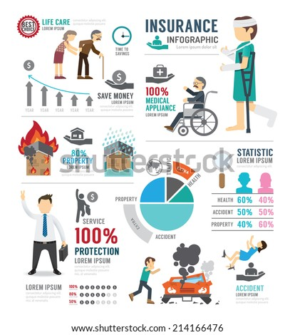 Insurance Template Design Infographic . Concept Vector Illustration - stock vector