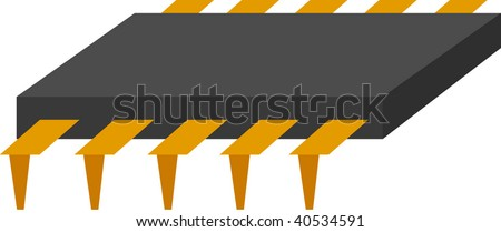 integrated circuit or microchip - stock vector