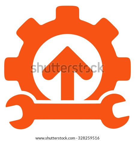 Integration Tools vector icon. Style is flat symbol, orange color, rounded angles, white background. - stock vector