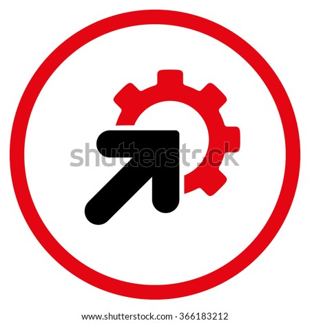 Integration vector icon. Style is flat circled symbol, color, rounded angles, white background. - stock vector