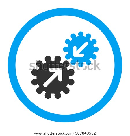 Integration vector icon. This rounded flat symbol is drawn with blue and gray colors on a white background. - stock vector