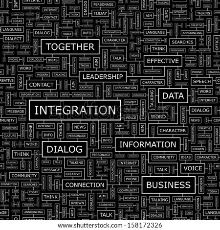 INTEGRATION. Word cloud illustration. Tag cloud concept collage. Vector text illustration. Seamless pattern.