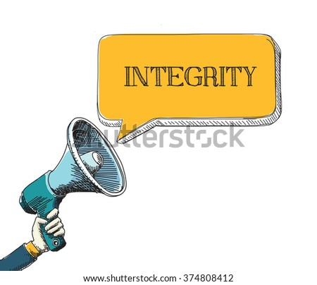 INTEGRITY word in speech bubble with sketch drawing style - stock vector