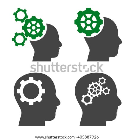Intellect Gears vector icons. Style is bicolor green and gray flat symbols on a white background. - stock vector