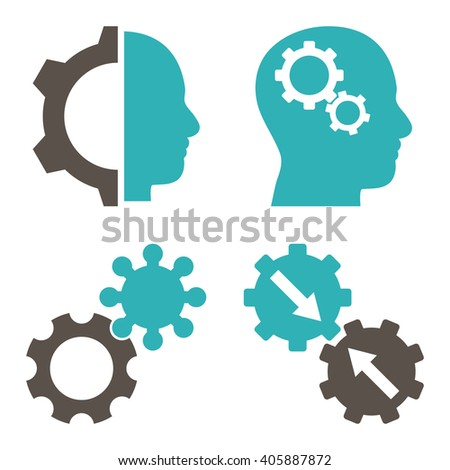 Intellect Gears vector icons. Style is bicolor grey and cyan flat symbols on a white background. - stock vector