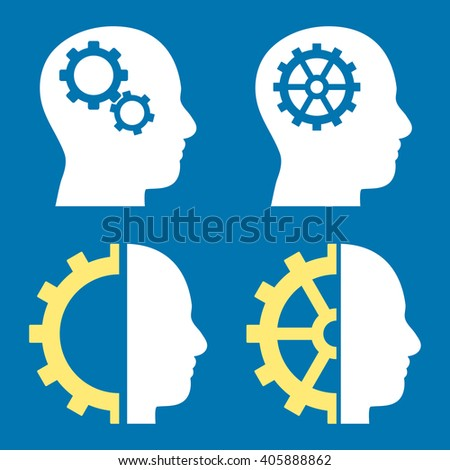 Intellect Gears vector icons. Style is bicolor yellow and white flat symbols on a blue background. - stock vector