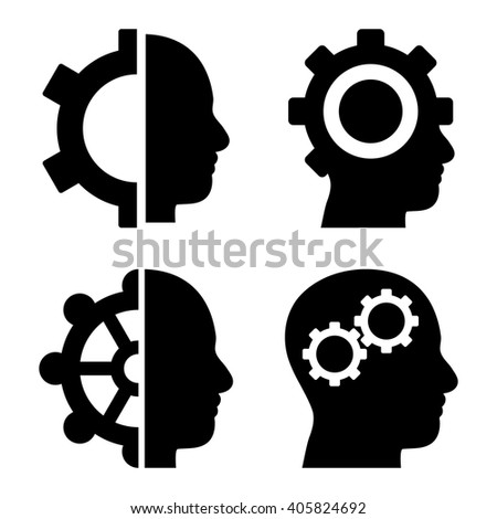 Intellect Gears vector icons. Style is black flat symbols on a white background. - stock vector