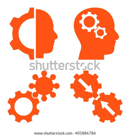 Intellect Gears vector icons. Style is orange flat symbols on a white background. - stock vector