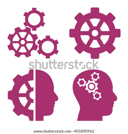 Intellect Gears vector icons. Style is purple flat symbols on a white background. - stock vector