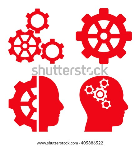 Intellect Gears vector icons. Style is red flat symbols on a white background. - stock vector