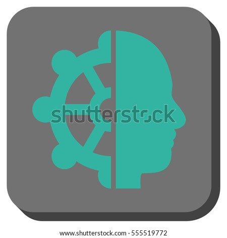 Intellect vector icon. Image style is a flat icon symbol inside a rounded square button, cyan and gray colors.