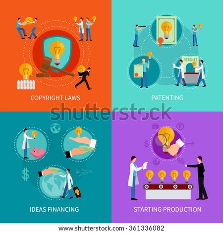 Intellectual property design  concept set with patenting  copyright and financing ideas symbols  vector illustration - stock vector