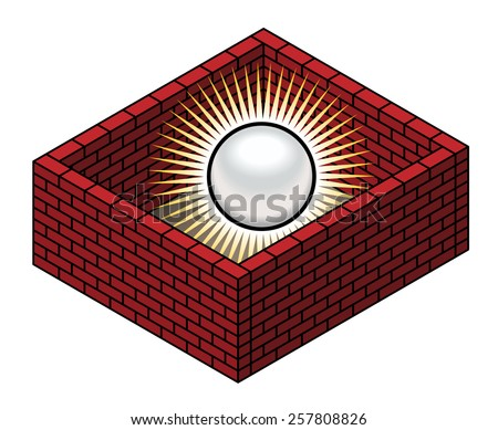 Intellectual property / patent protection concept. A pearl of knowledge / wisdom protected by brick walls. - stock vector