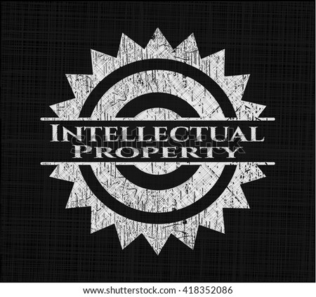 Intellectual property with chalkboard texture - stock vector