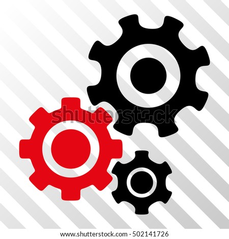 Intensive Red And Black Gear Mechanism interface pictogram. Vector pictograph style is a flat bicolor symbol on diagonal hatch transparent background.