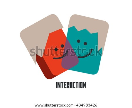 Interaction graphic. Flat vector illustration. - stock vector