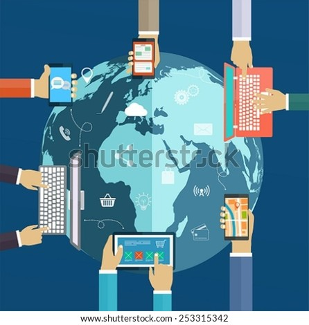 Interaction hands using keyboard and mobile applications on screen. Internet analytics, work in network, interaction computer digital of technologies around the world - stock vector