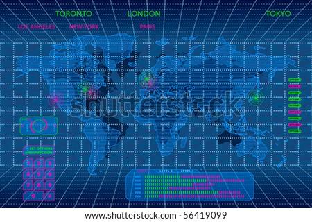 Interactive 3d digital world map concept - stock vector