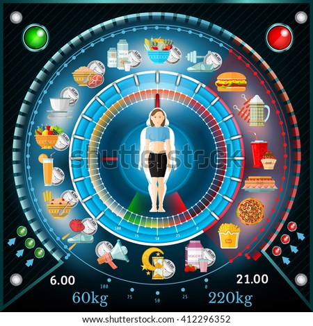 Interactive weight loss info graphic. Regime of day with useful and harmful products and deals girl in the center - stock vector