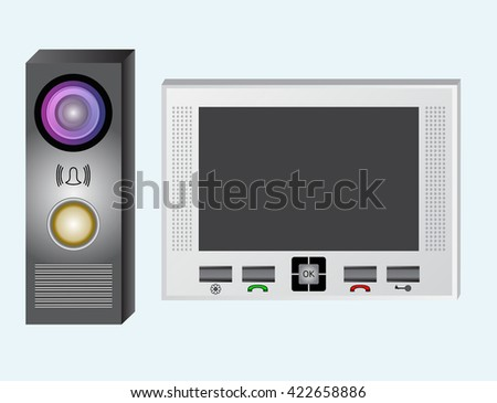 Intercom. Video intercom. The monitor and the outdoor panel with a video camera. The device has an electromagnetic or electromechanical lock. The device is equipped with a speakerphone. - stock vector