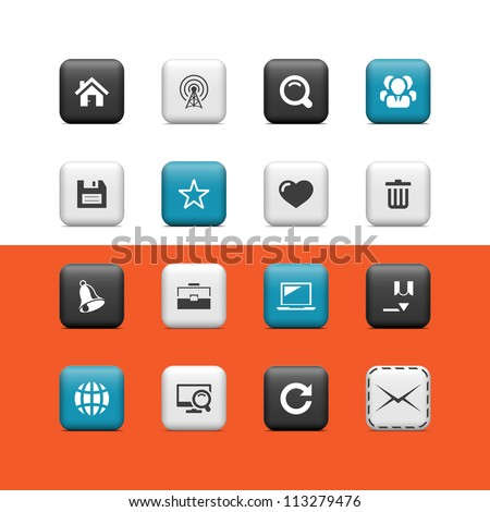 Interent and blog icons. Buttons - stock vector