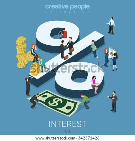 Interest rate percent flat 3d isometry isometric financial concept web infographics vector illustration. Monay dollar cent coins micro male female and big percentage sign. Creative people collection. - stock vector