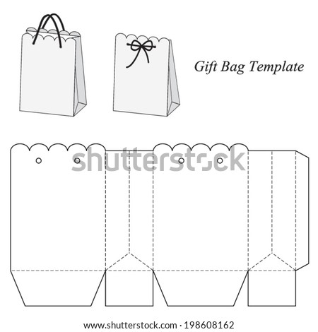 Interesting gift bag template, vector illustration - stock vector