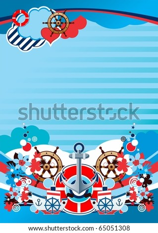 interesting marine composition A4 format - stock vector