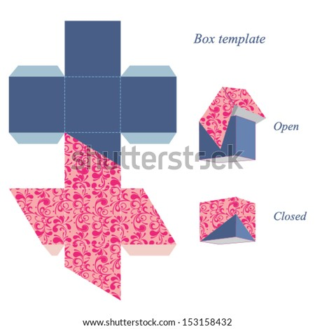 Interesting square box template with lid, floral pattern. Vector illustration. - stock vector