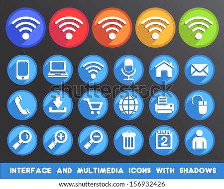 Interface and Multimedia Icons with Shadows.  - stock vector