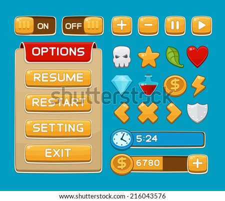 Interface buttons set for games or apps. Vector illustration. Easy to edit. Isolated on blue - stock vector