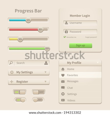 Interface elements and tools for web and mobile design. Vector illustration