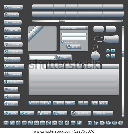 Interface Elements Web Site (Grey) - stock vector