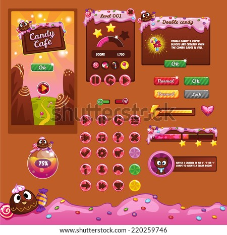 Interface game design (resource bar and resource icons for games) theme candy  - stock vector