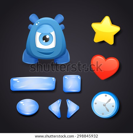 Interface icons and buttons for game design with resources and monster - stock vector