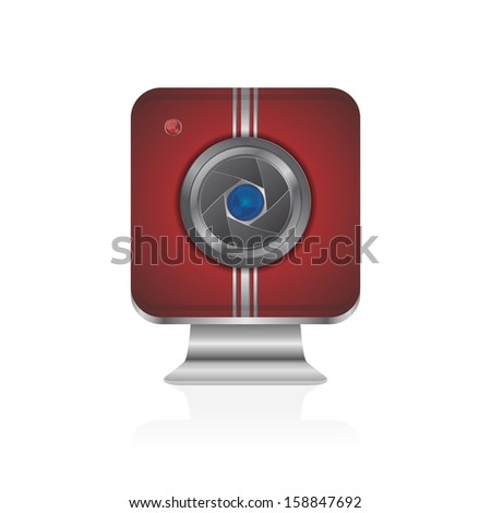 interface red camera lens icon application