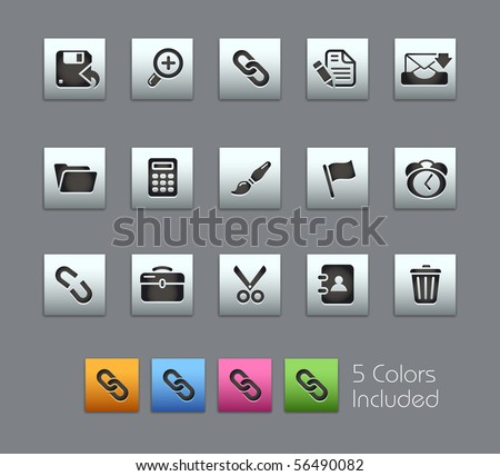 Interface // Satinbox Series -------It includes 5 color versions for each icon in different layers --------- - stock vector