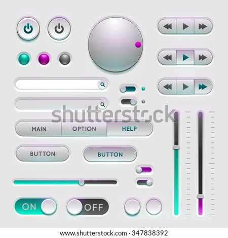 Interface web ui elements. Buttons, Switchers and Slider on gray background - stock vector